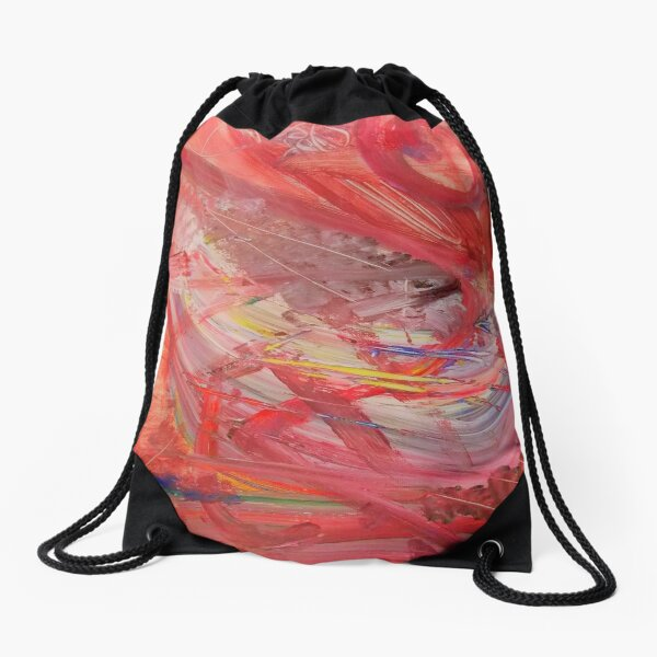 BLACK & WHITE & RED ALL OVER - Abstract Art Design - scroll down Drawstring Bag