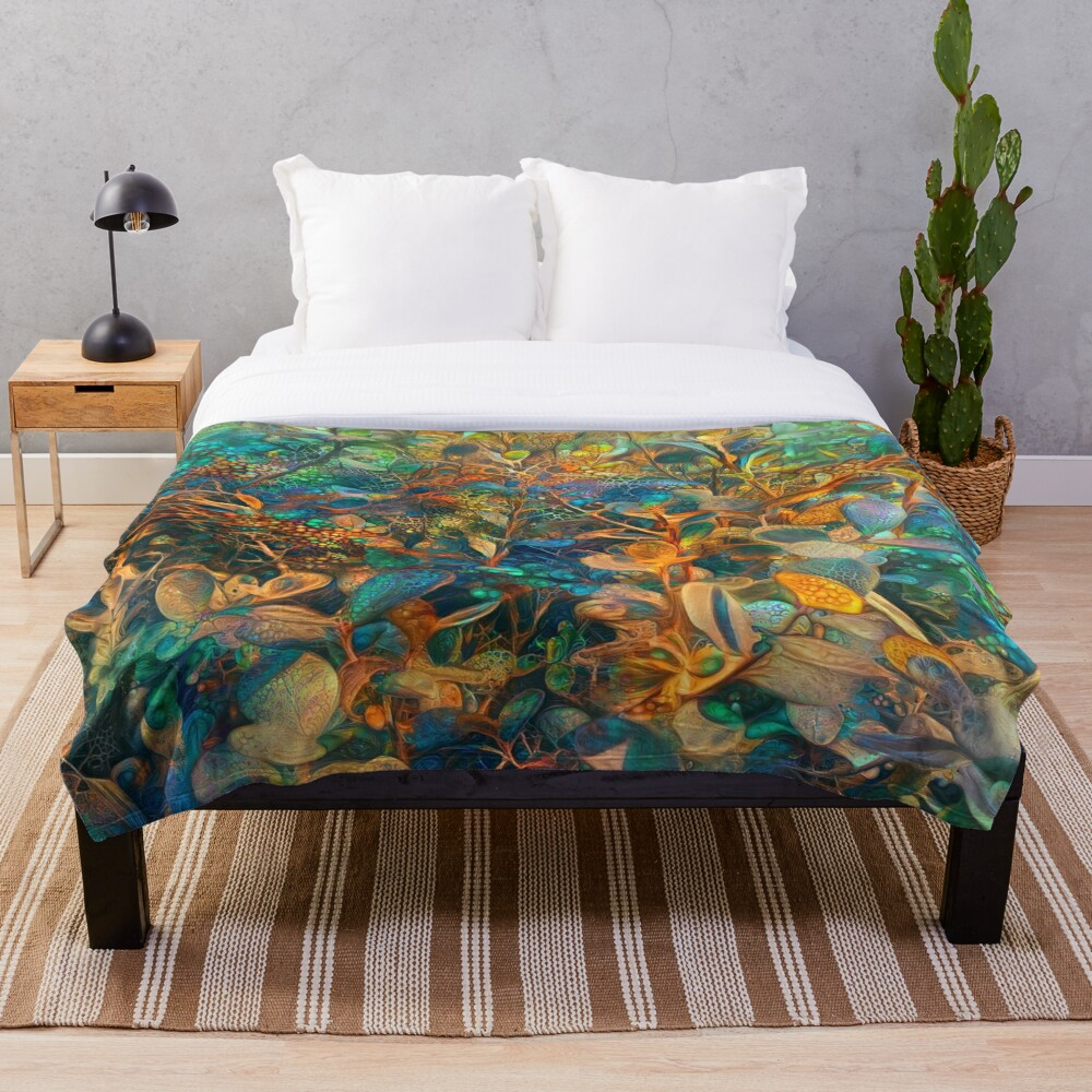 Flower abstract digital painting Throw Blanket