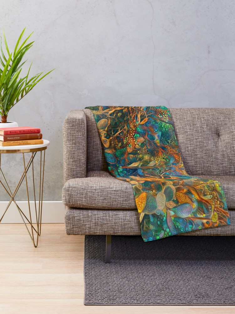 Alternate view of Flower abstract digital painting Throw Blanket