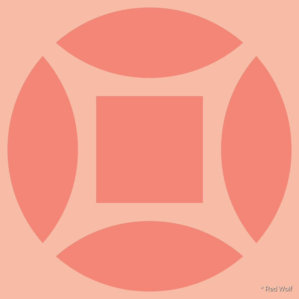 Geometric Pattern: Intersect Square: Salmon by * Red Wolf