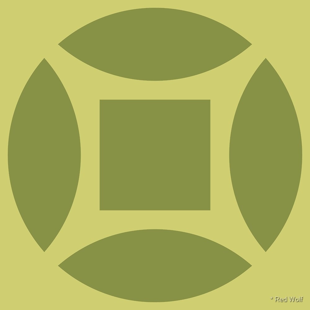 Geometric Pattern: Intersect Square: Olive by * Red Wolf