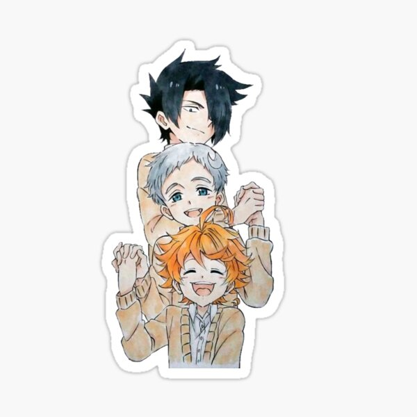 The Promised Neverland - cute Ray Emma y Norman  Pegatina brillante