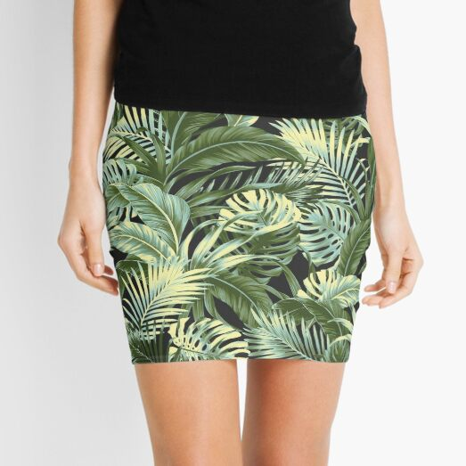 Jungle Floral - Charcoal Mini Skirt