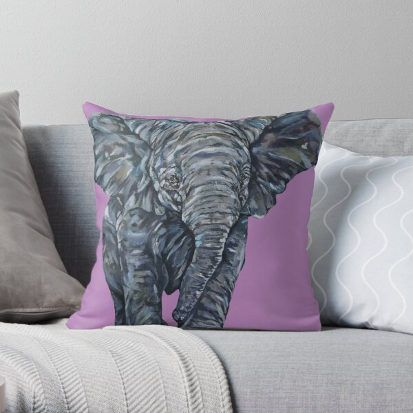 Nellie. Elephant art by award-winning UK artist Sam Fenner Throw Pillow