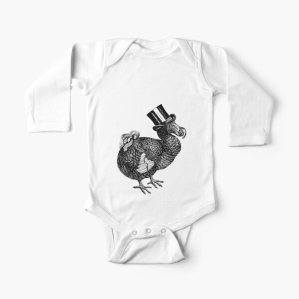 Mr Dodo | Vintage Dodos | Black and White |  Long Sleeve Baby One-Piece