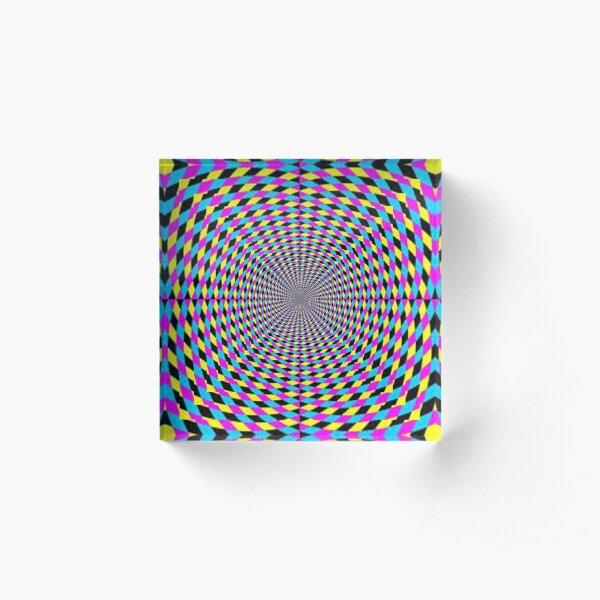 Colorful vortex spiral, hypnotic cmyk background, optical illusion Acrylic Block