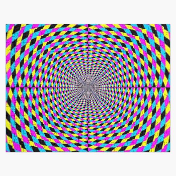 Colorful vortex spiral, hypnotic cmyk background, optical illusion Jigsaw Puzzle