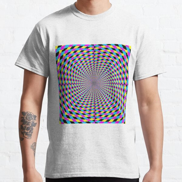 Colorful vortex spiral, hypnotic cmyk background, optical illusion Classic T-Shirt