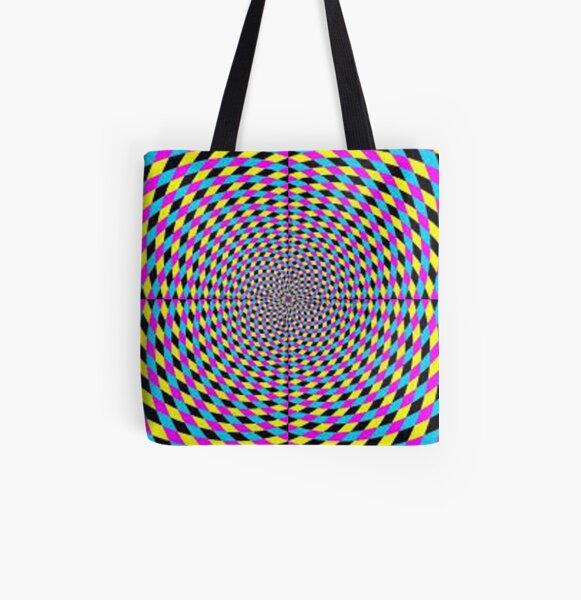 Colorful vortex spiral, hypnotic cmyk background, optical illusion All Over Print Tote Bag