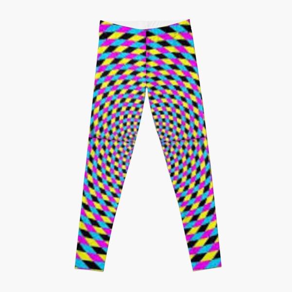 Colorful vortex spiral, hypnotic cmyk background, optical illusion Leggings