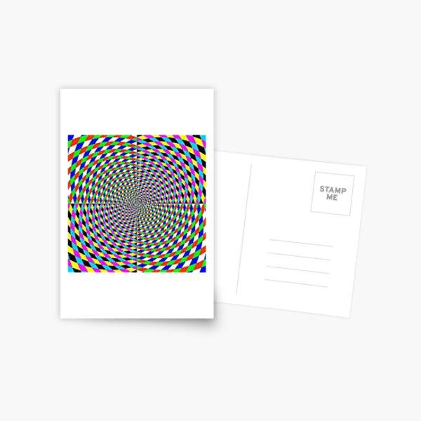 Colorful vortex spiral, hypnotic cmyk background, optical illusion Postcard