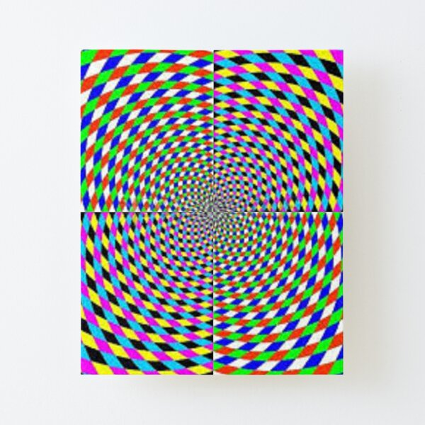 Colorful vortex spiral, hypnotic cmyk background, optical illusion Canvas Mounted Print