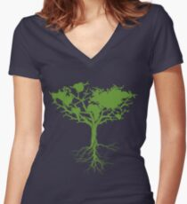 Earth Tree Classic Women's Fitted V-Neck T-Shirt