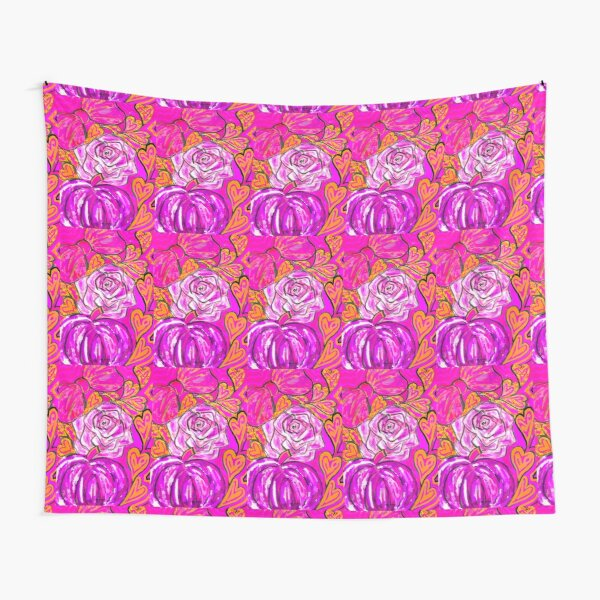 Pink Pumpkin Rose Bow Tapestry