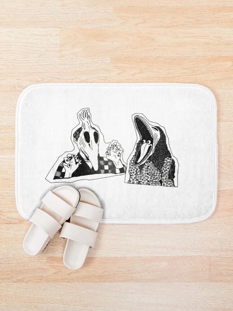 Alternate view of Adam & Barbara Monster Couple Beetle Juice Inspired Halloween 80's Goth Cult Film Bath Mat