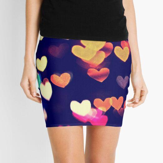 Colorful Hearts Bokeh Vintage Blue Yellow Orange I Mini Skirt