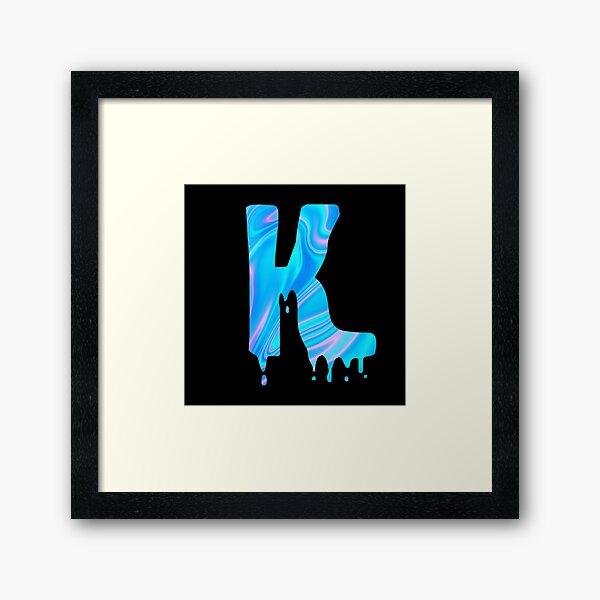 Drippy Holographic K alphabet Transparent Letter Sticker. Framed Art Print