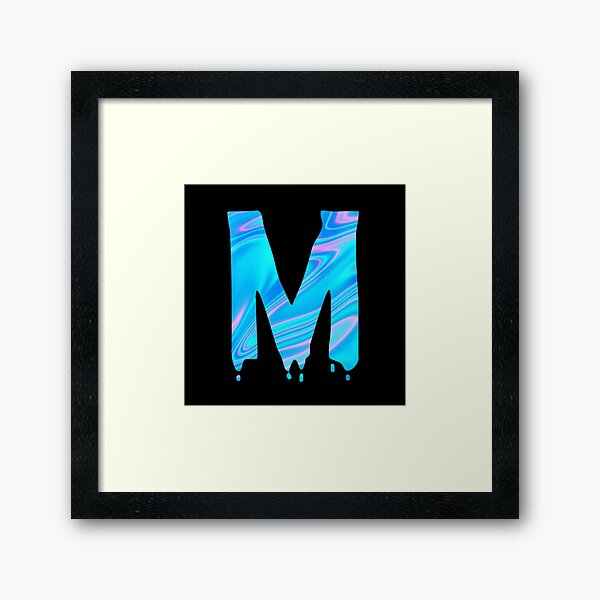 Drippy Holographic M alphabet Transparent Letter Sticker. Framed Art Print