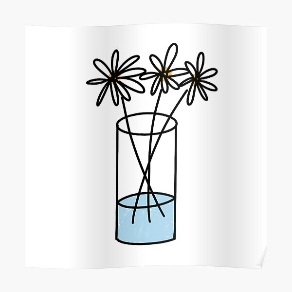 Jar Of Daisy Flowers Doodles Poster
