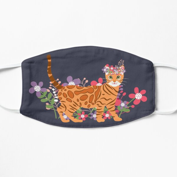 Bengal Cat and Flowers Mask