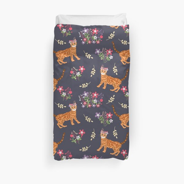 Bengal Cat and Flowers Duvet Cover