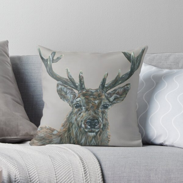 Hello Deer. Deer, stag art by award-winning UK artist Sam Fenner Throw Pillow