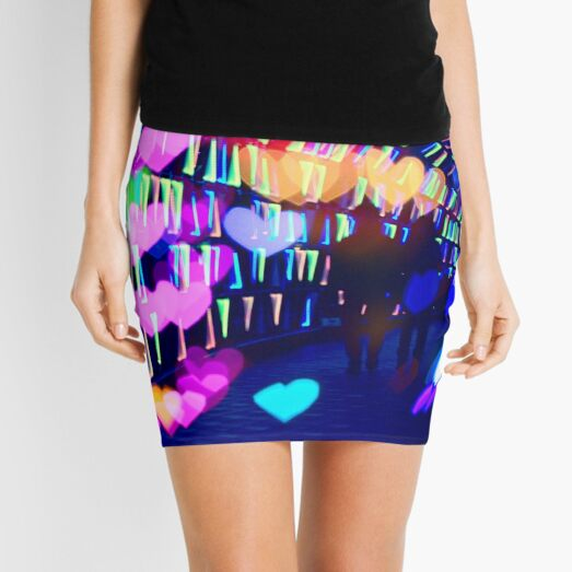 Couple In Colorful Light Tunnel Hearts Triangles Tokyo Mini Skirt