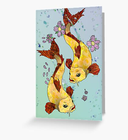 Two (Koi) Fish Greeting Card