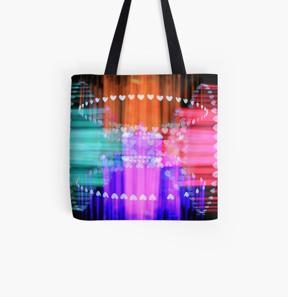Speeding Hearts Abstract Colorful Light Trails All Over Print Tote Bag