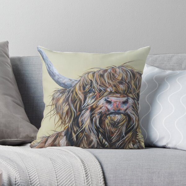 Wally McWindy. Highland cow, Heilan Scottish funny coo art by award-winning UK artist Sam Fenner Throw Pillow