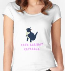 Cats against catcalls! Women's Fitted Scoop T-Shirt