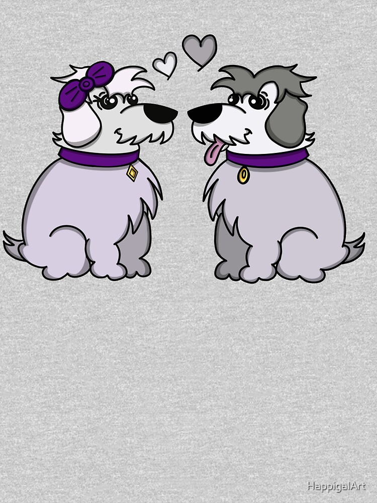 Sheep Dogs in Love Gray by HappigalArt