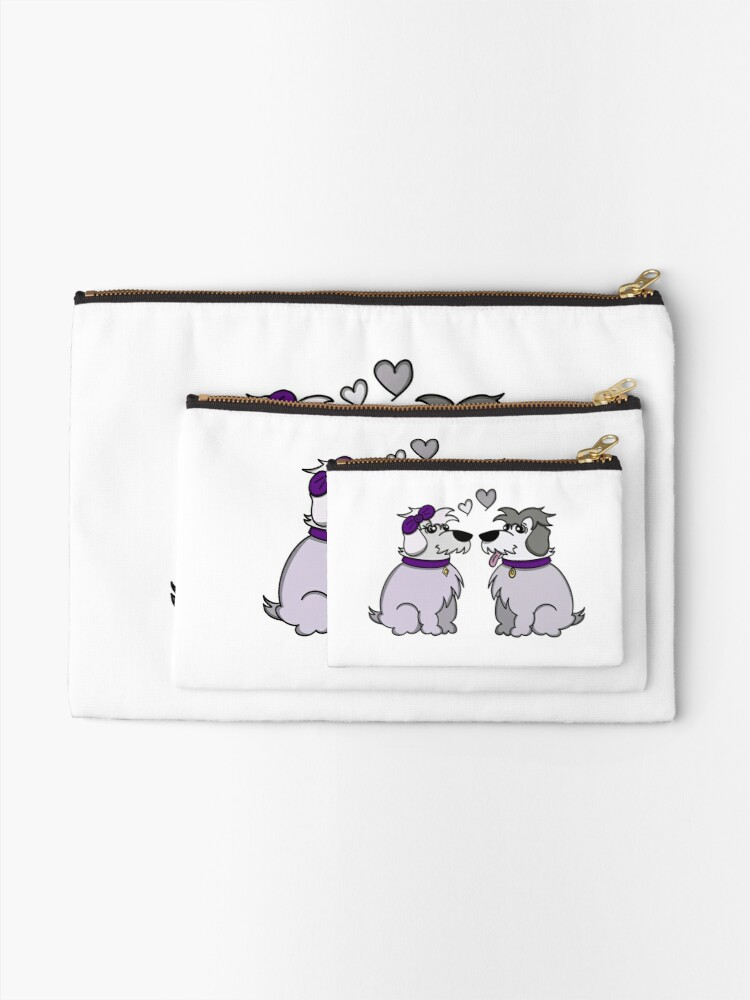 Alternate view of Sheep Dogs in Love Gray Zipper Pouch