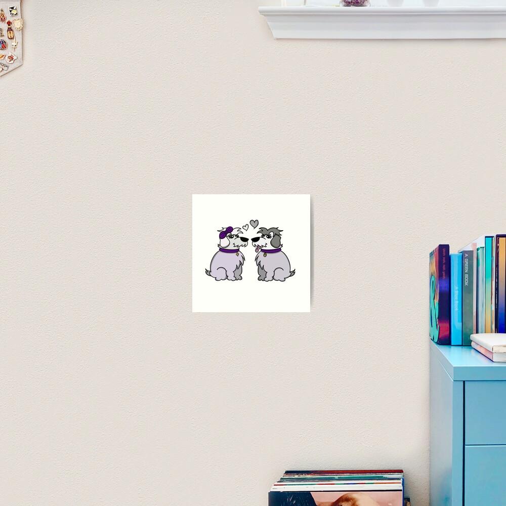 Sheep Dogs in Love Gray Art Print