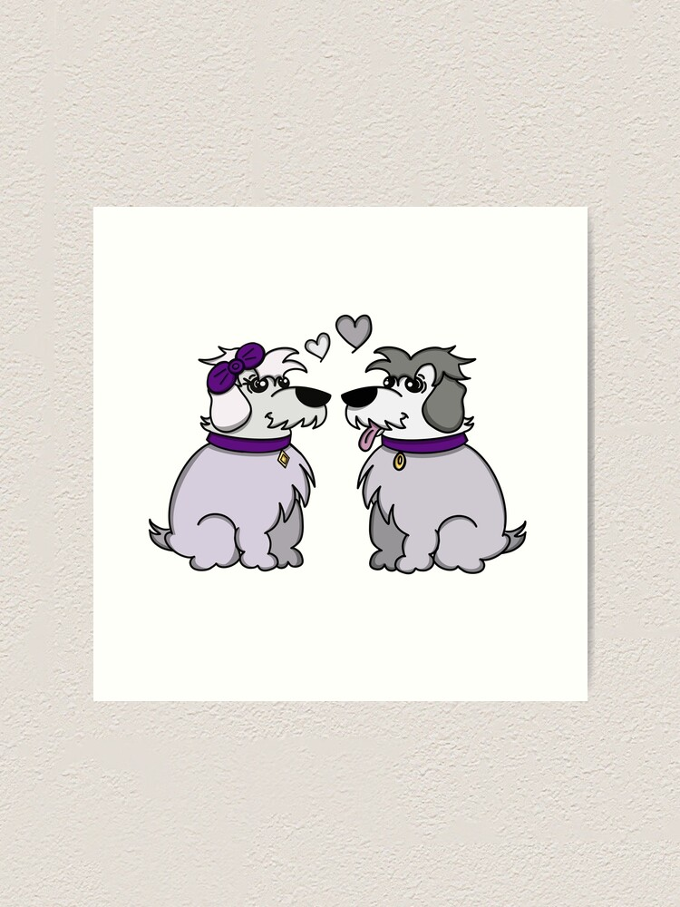 Alternate view of Sheep Dogs in Love Gray Art Print