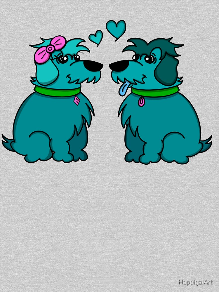 Sheep Dogs in Love Teal by HappigalArt