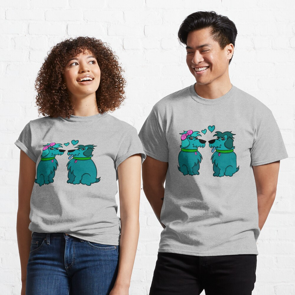 Sheep Dogs in Love Teal Classic T-Shirt