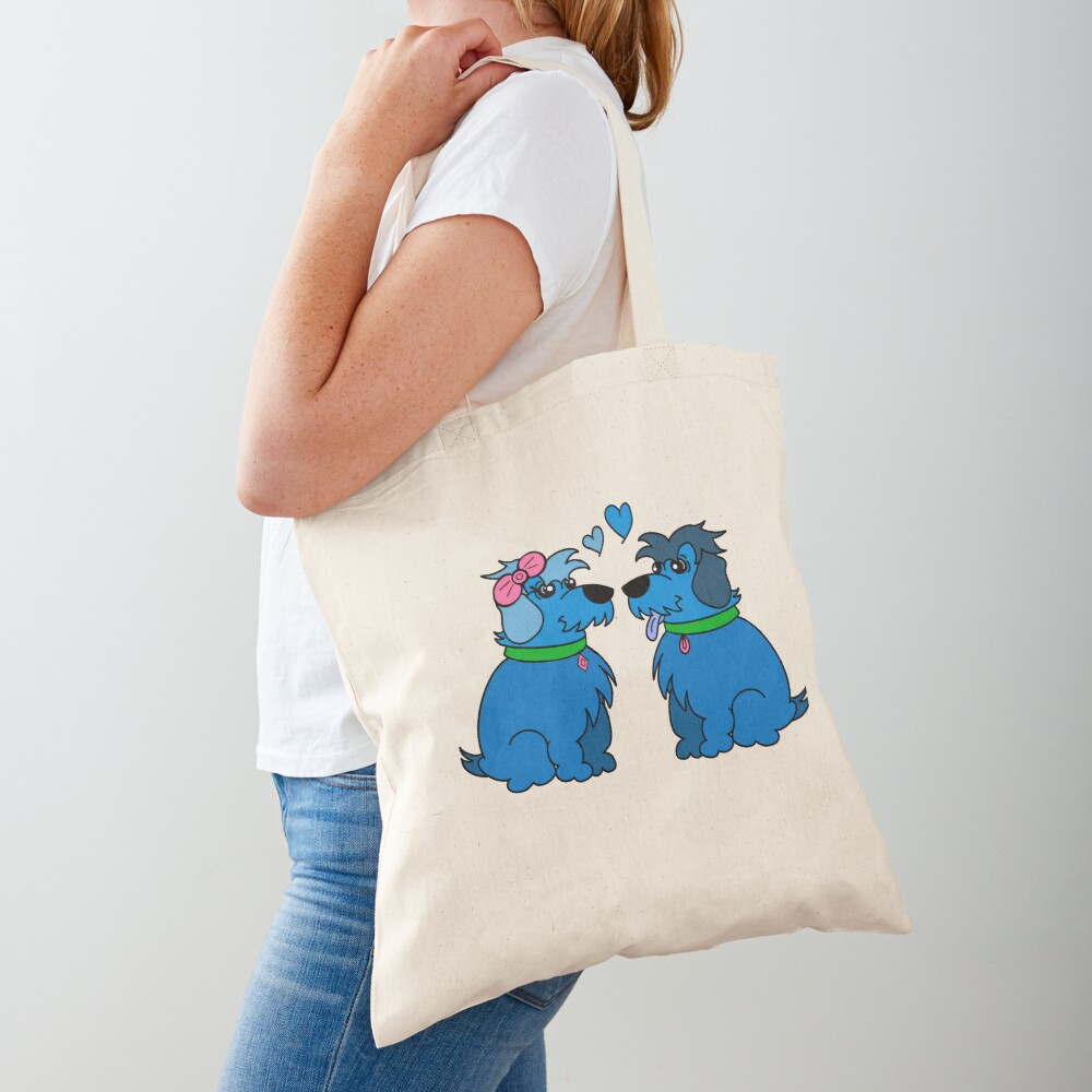 Sheep Dogs in Love Blue Tote Bag