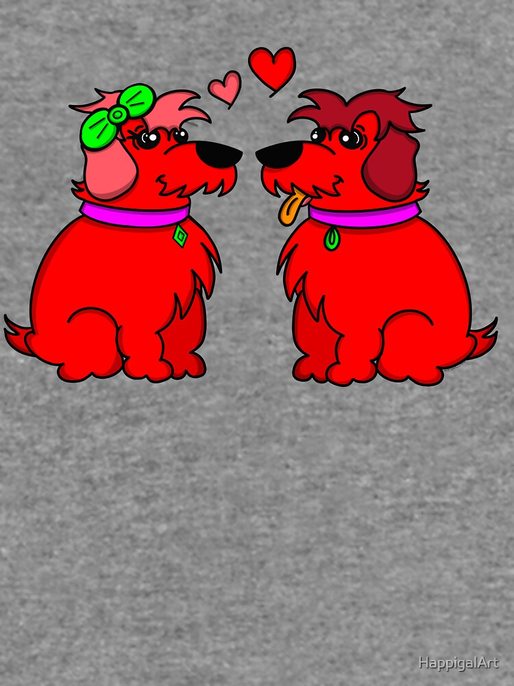Sheep Dogs in Love Red by HappigalArt