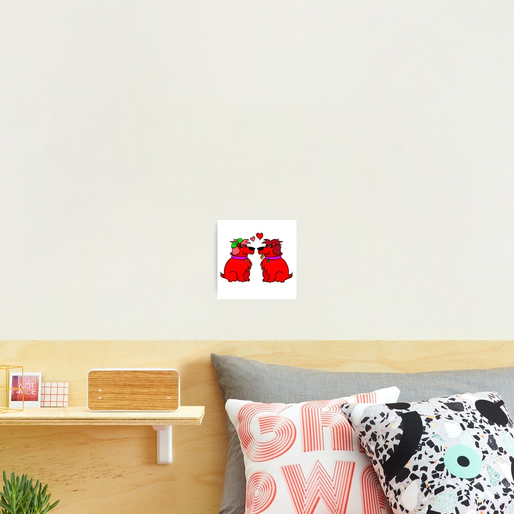 Sheep Dogs in Love Red Photographic Print