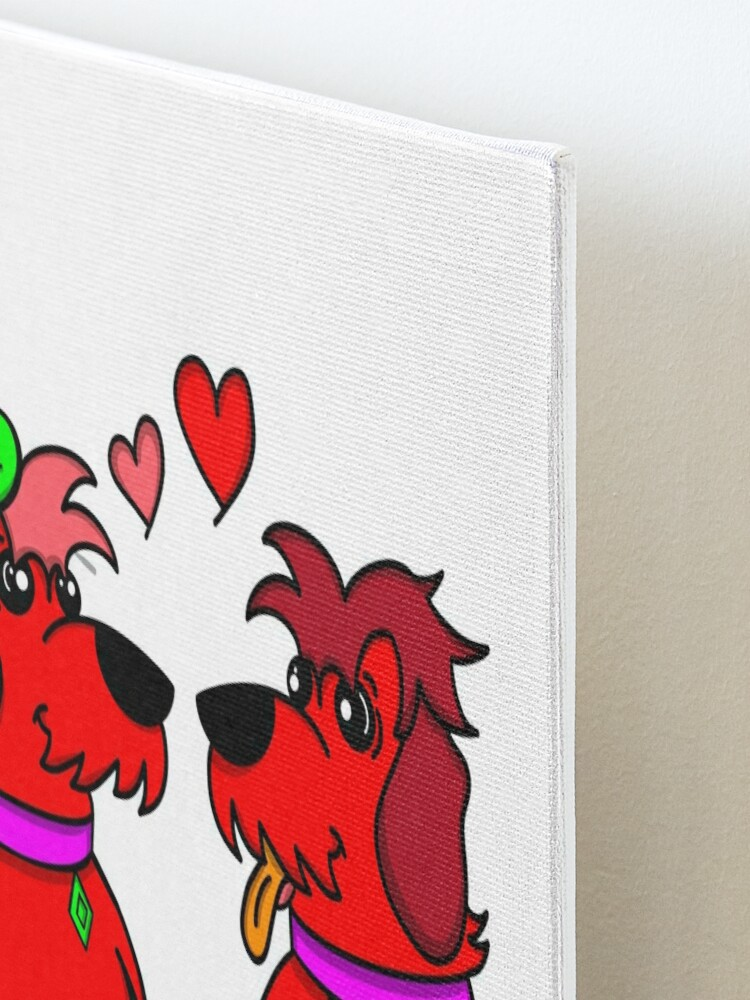 Alternate view of Sheep Dogs in Love Red Mounted Print