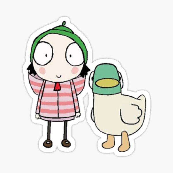 Sarah and duck childrens cartoon Sticker