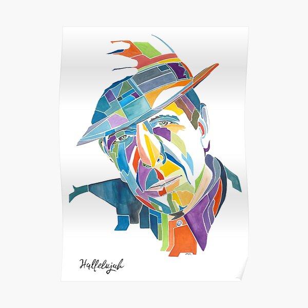 Portrait de Leonard Cohen avec son chapeau Poster