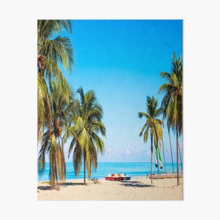 tropical beach varadero cuba with sailboats palm trees summer day Art Board Print