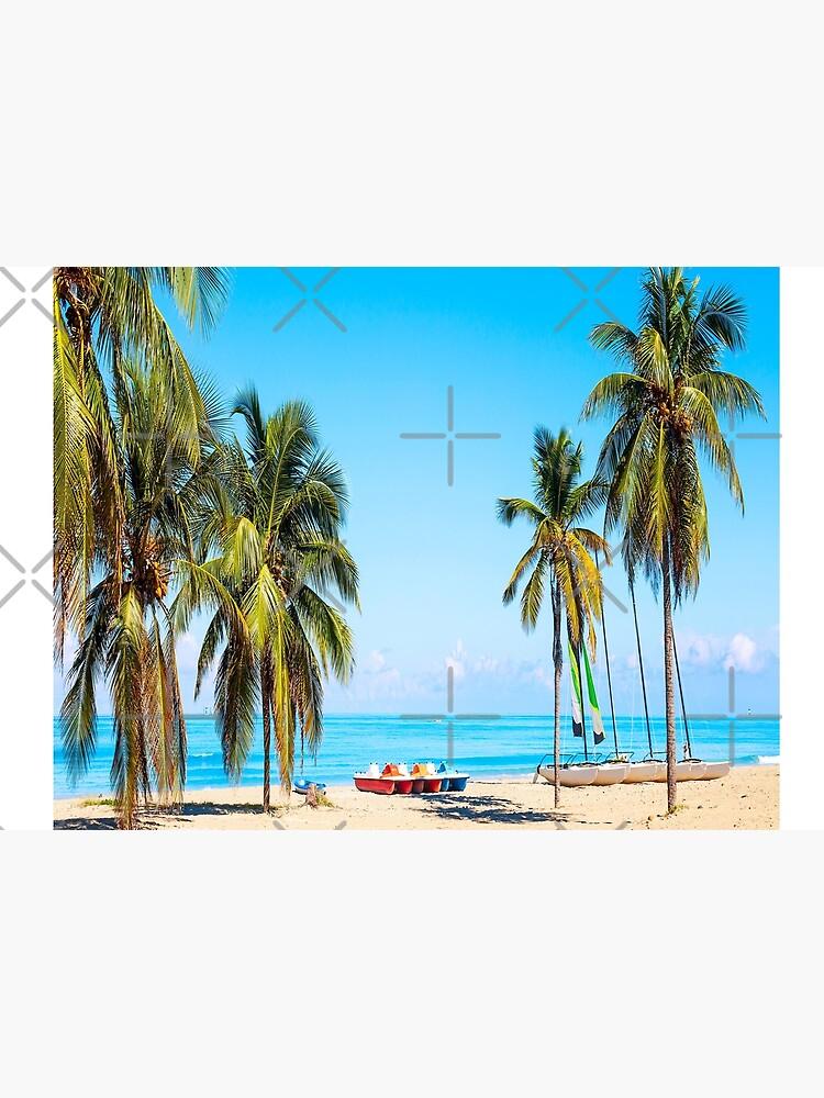 tropical beach varadero cuba with sailboats palm trees summer day by Rajaeimohamed