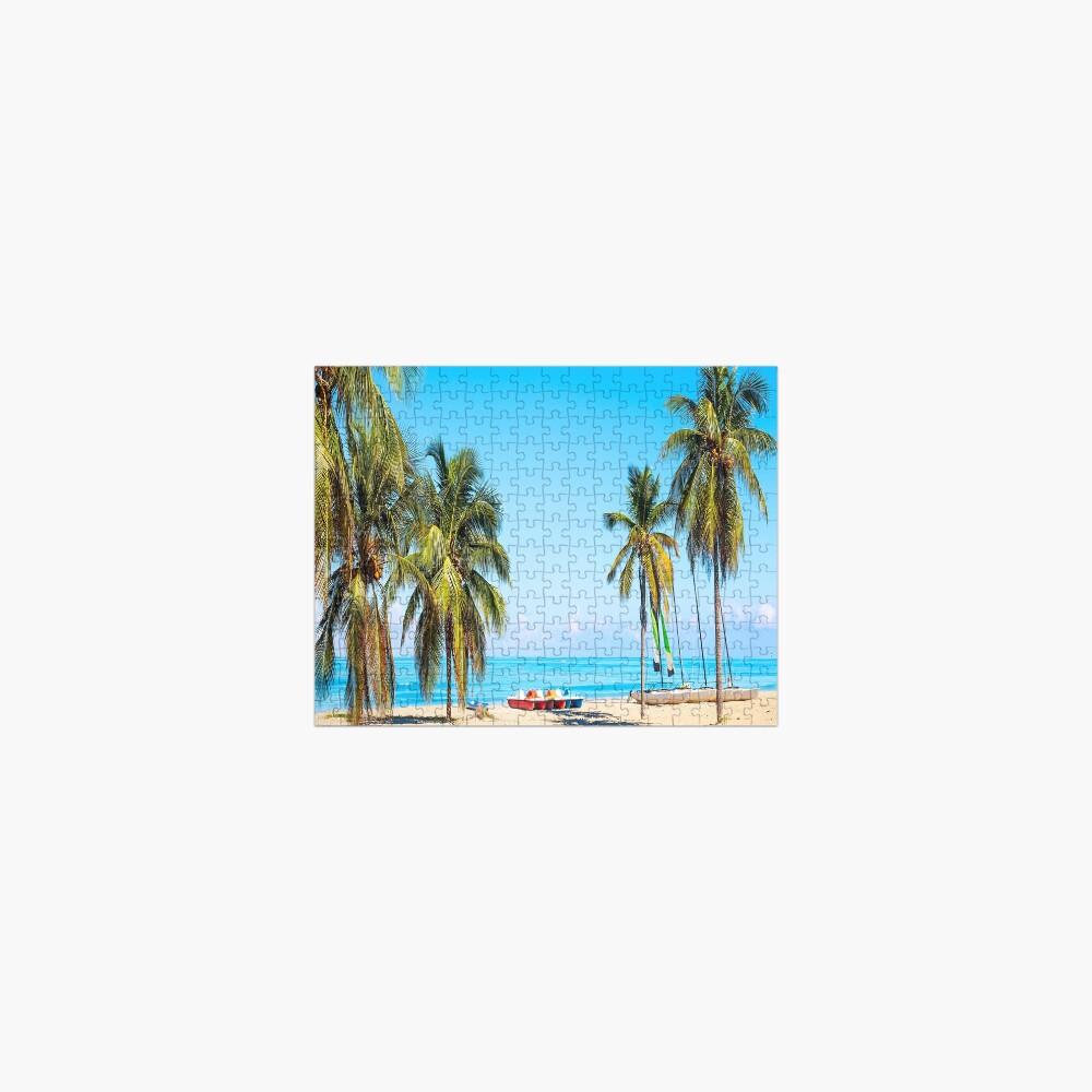 tropical beach varadero cuba with sailboats palm trees summer day Jigsaw Puzzle