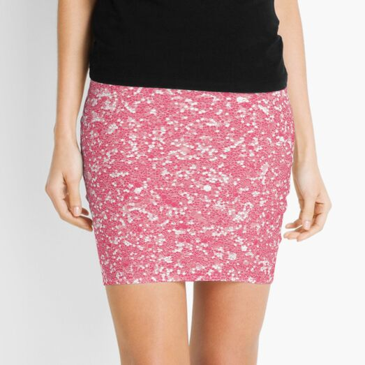 cute living coral pink seamless repeat pattern Mini Skirt