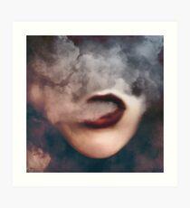 Woman Red Lips Vape Clouds  Art Print
