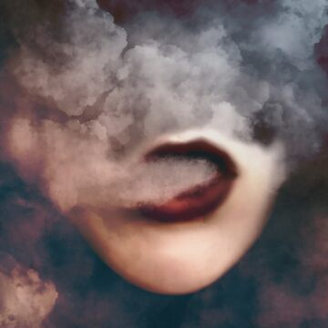 Woman Red Lips Vape Clouds  by OCDesigns2
