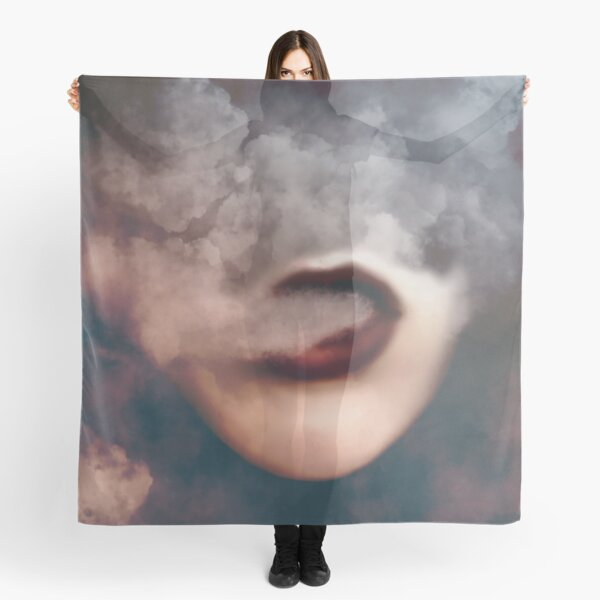 Woman Red Lips Vape Clouds  Scarf